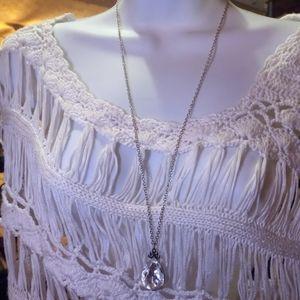 Large crystal tear drop Necklace